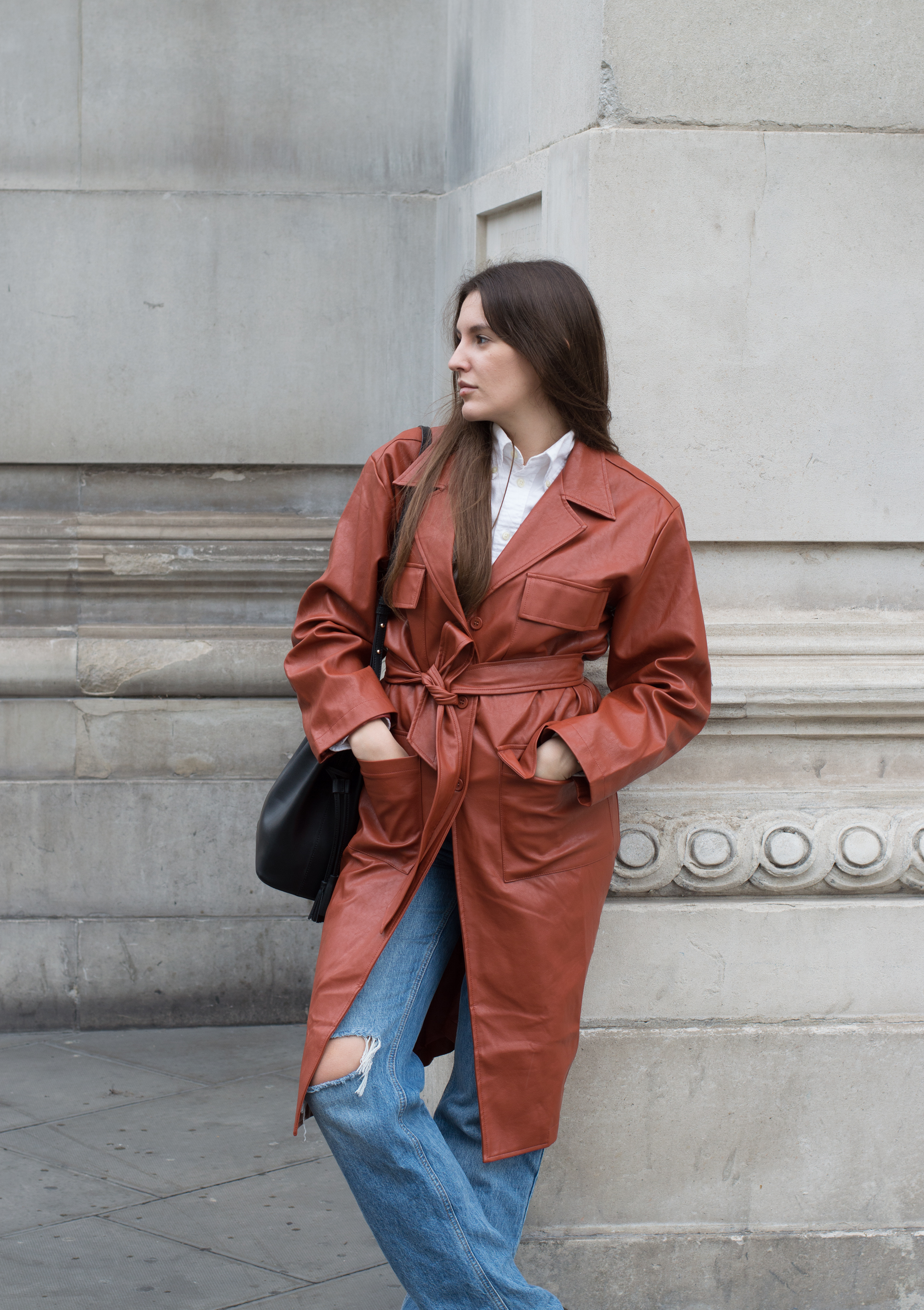 orange trench coat