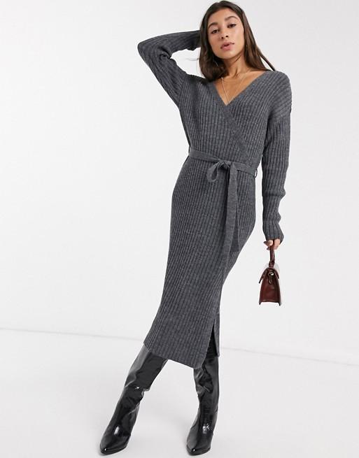 knit dress asos v-neck