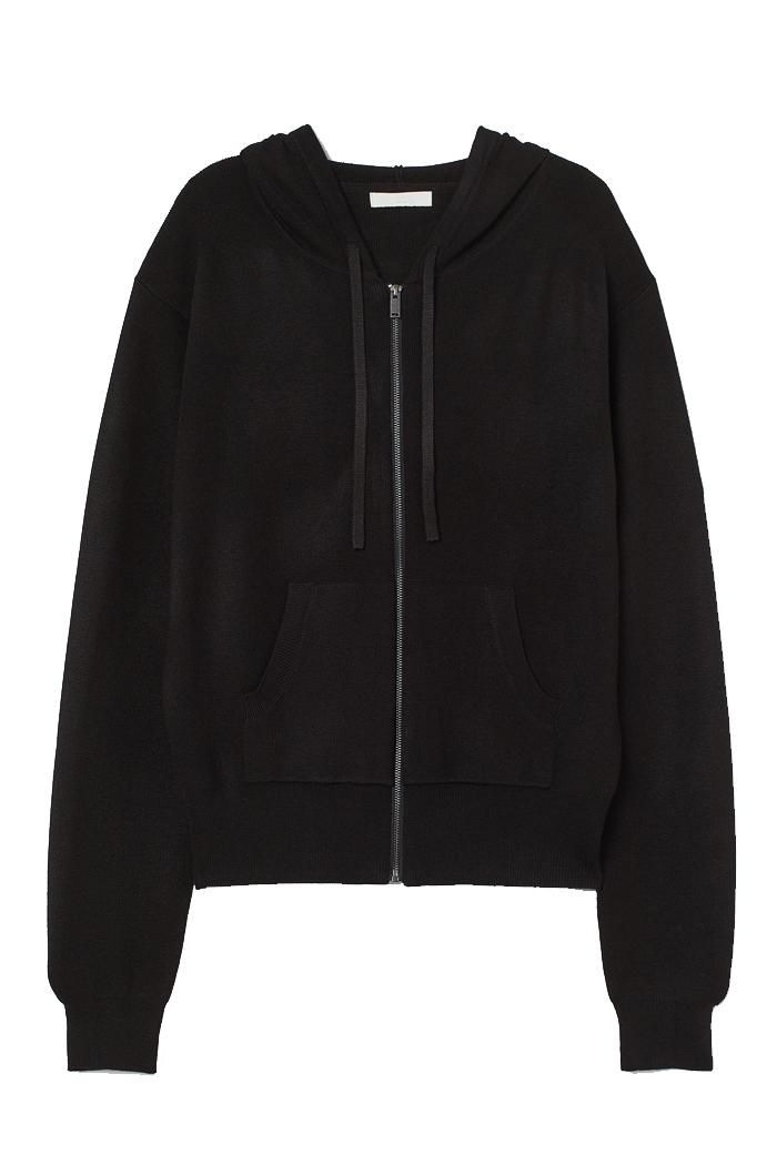 knit hoodie zip h&M