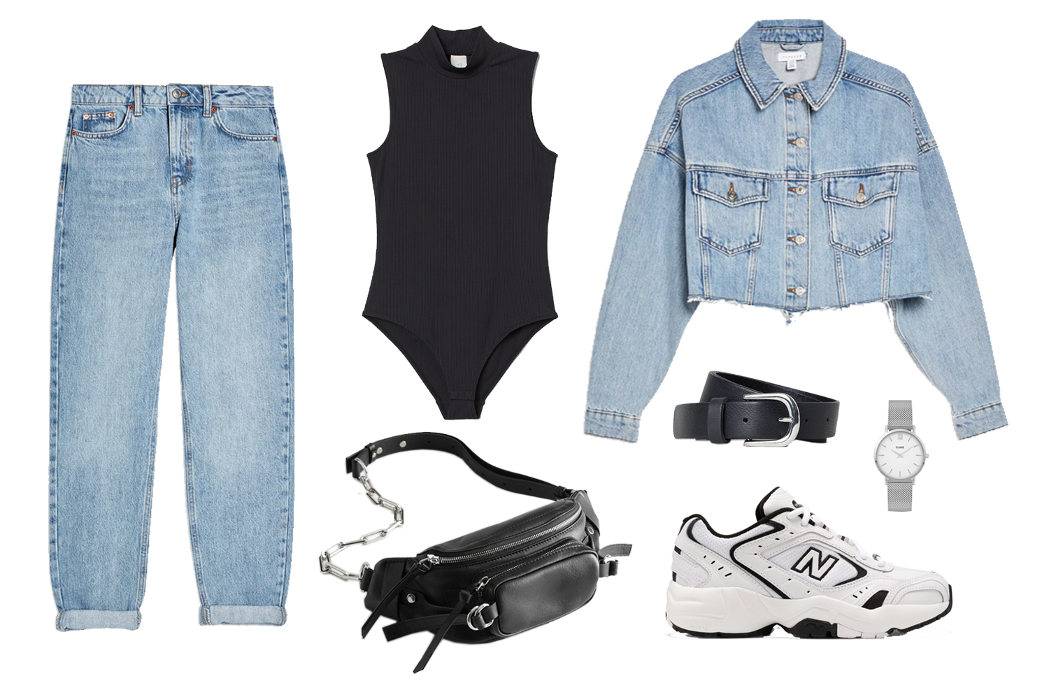 mom jeans outfit double denim