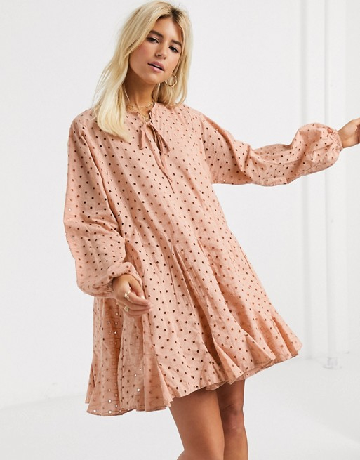 broderie pink dress asos