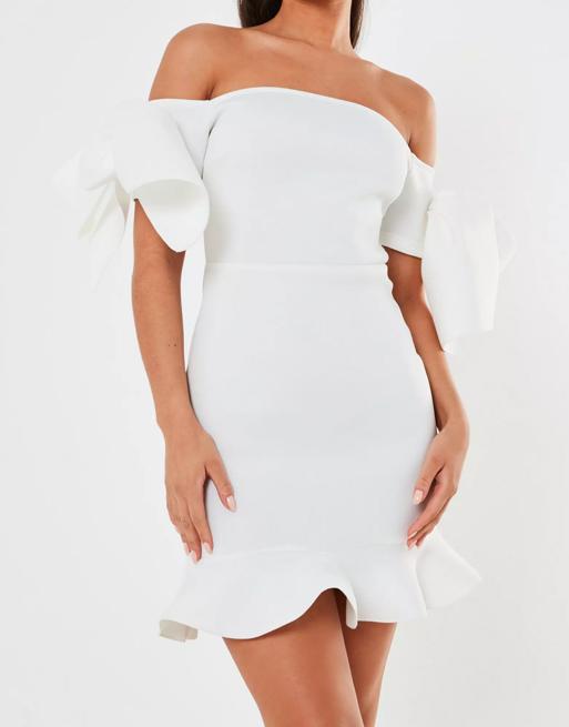 bardot mini white dress