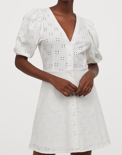 mini white dress h&m