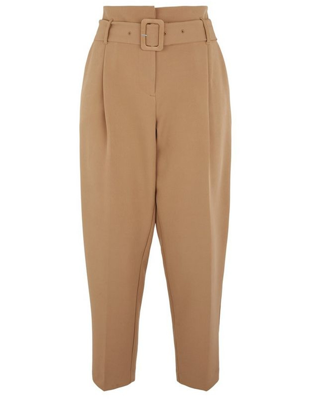 camel belted trousers
