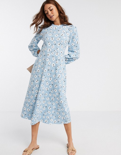 blue midi dress asos