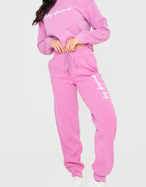 pink joggers in the style