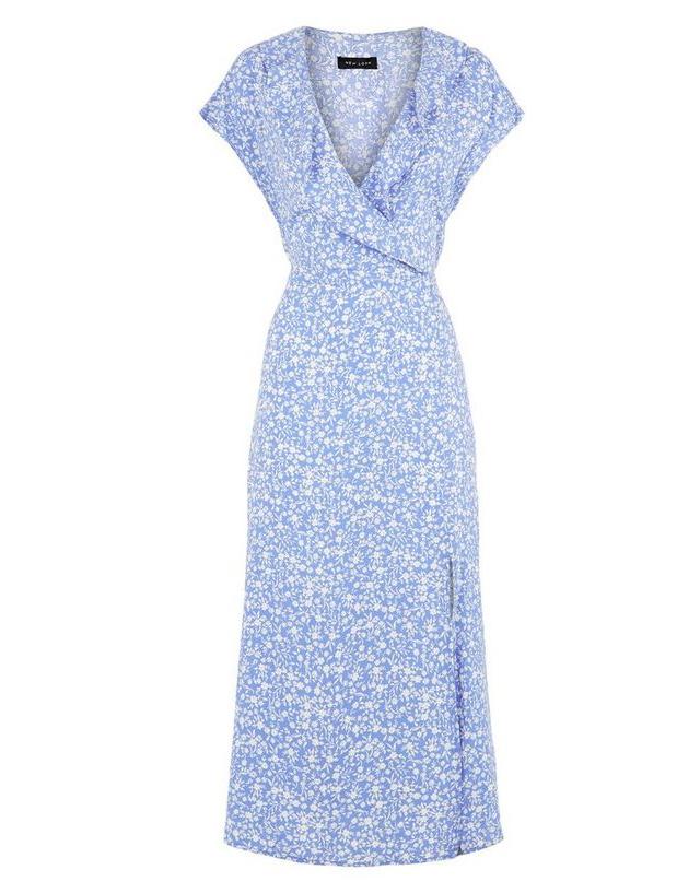 blue midi dres new look