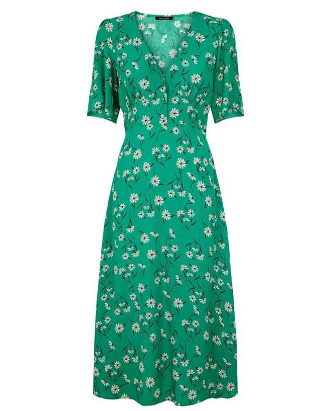 wrap midi dress new look