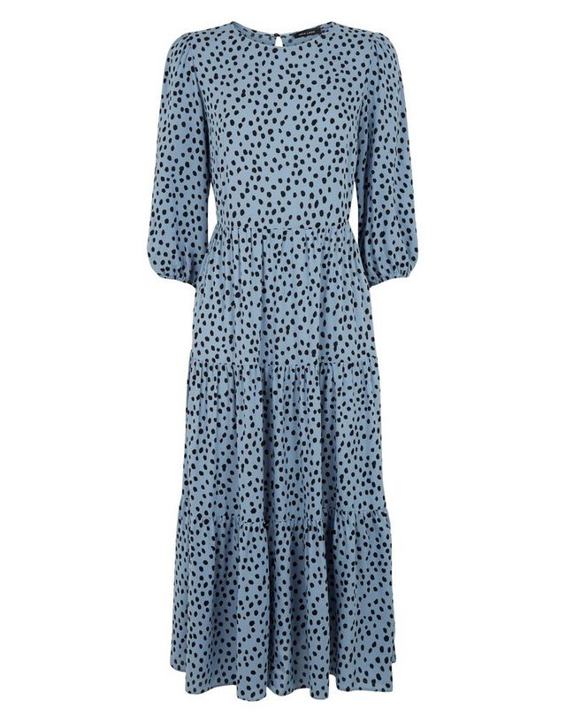 blue midi dress new look