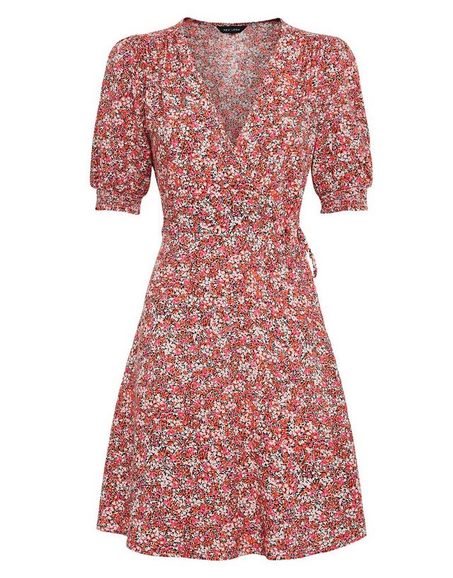 wrap floral dress new look