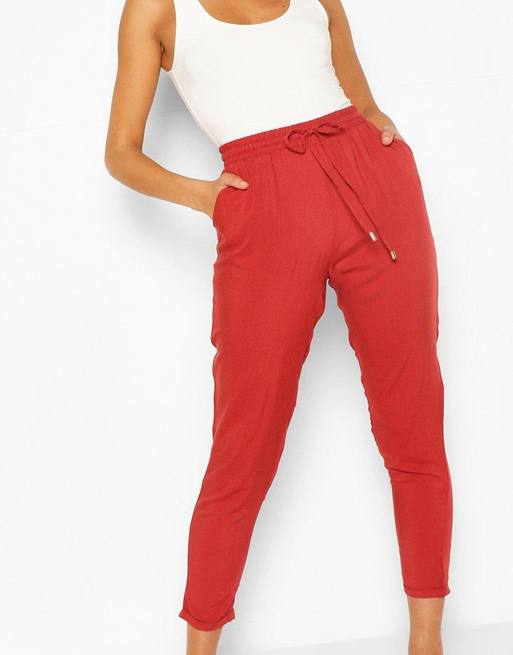boohoo red joggers