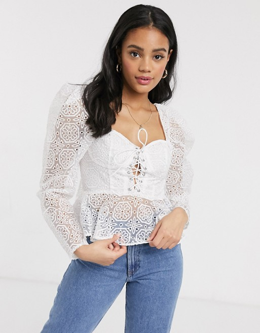 white lace top asos