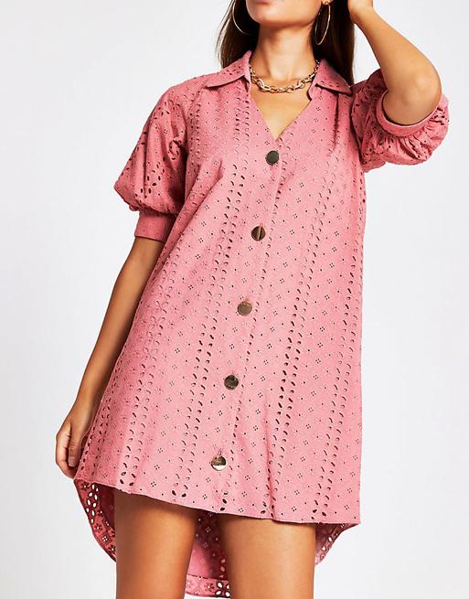 pink broderie dress