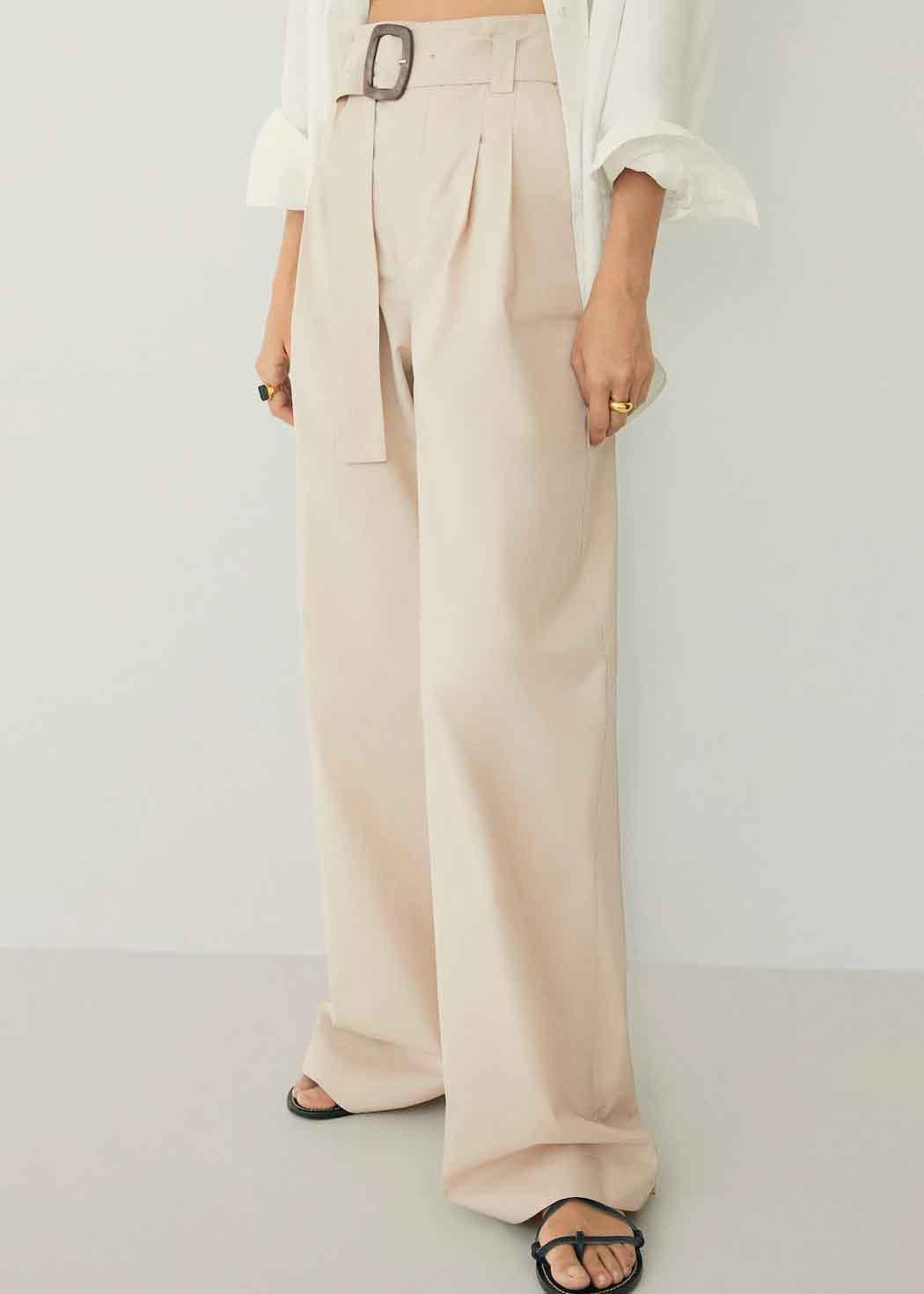 beige wide trousers