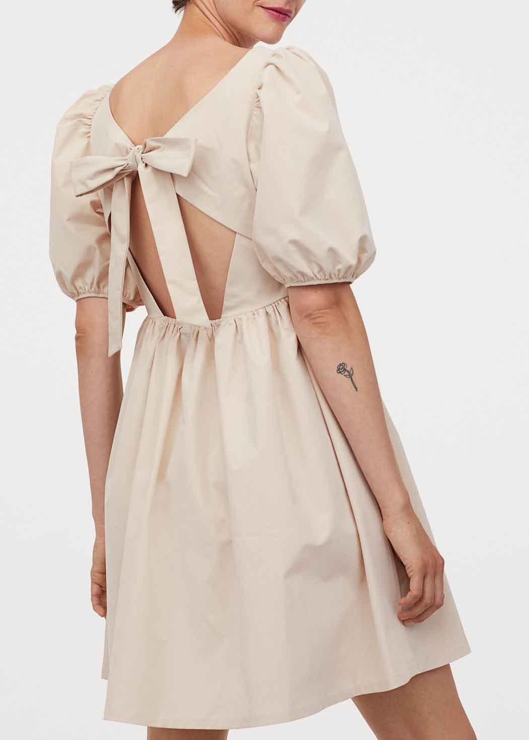 beige bow dress