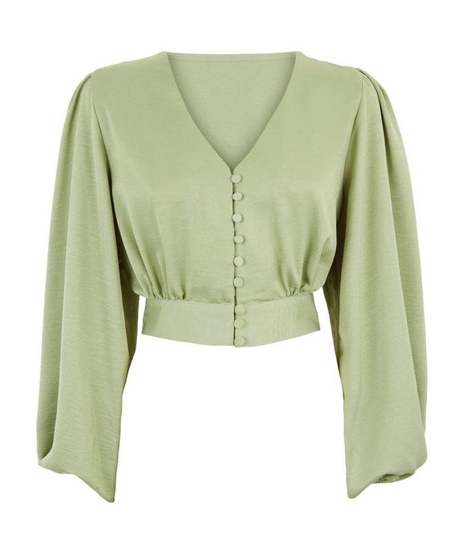 satin mint blouse