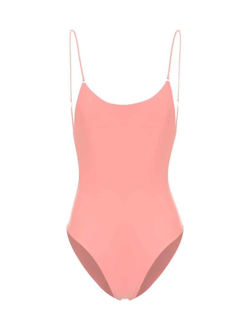 pink open back swimsuit