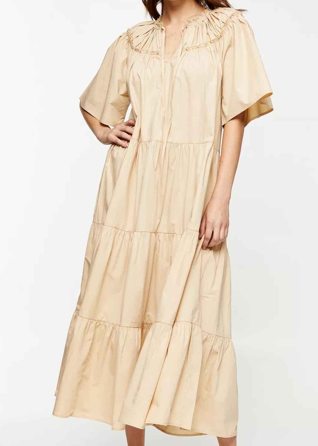 beige poplin dress