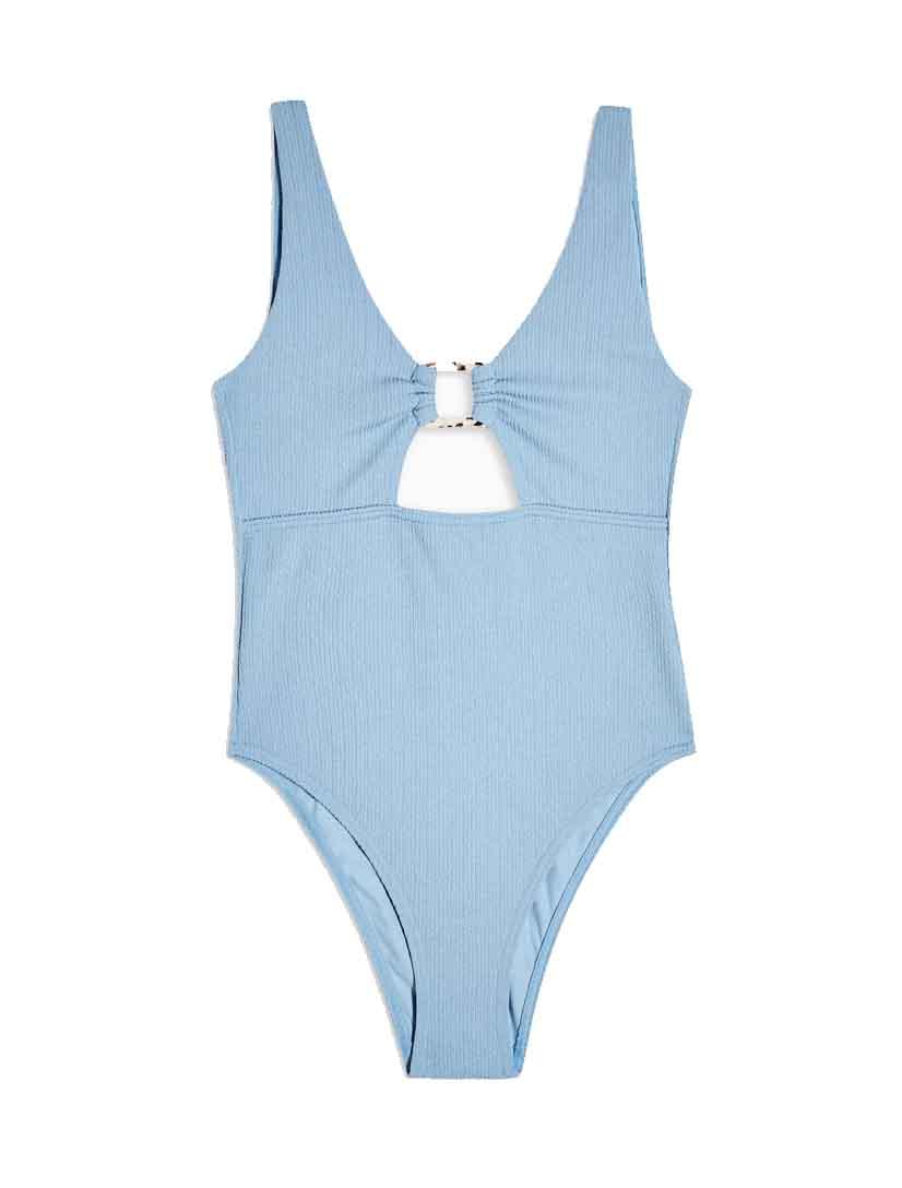 blue cut swimsuit