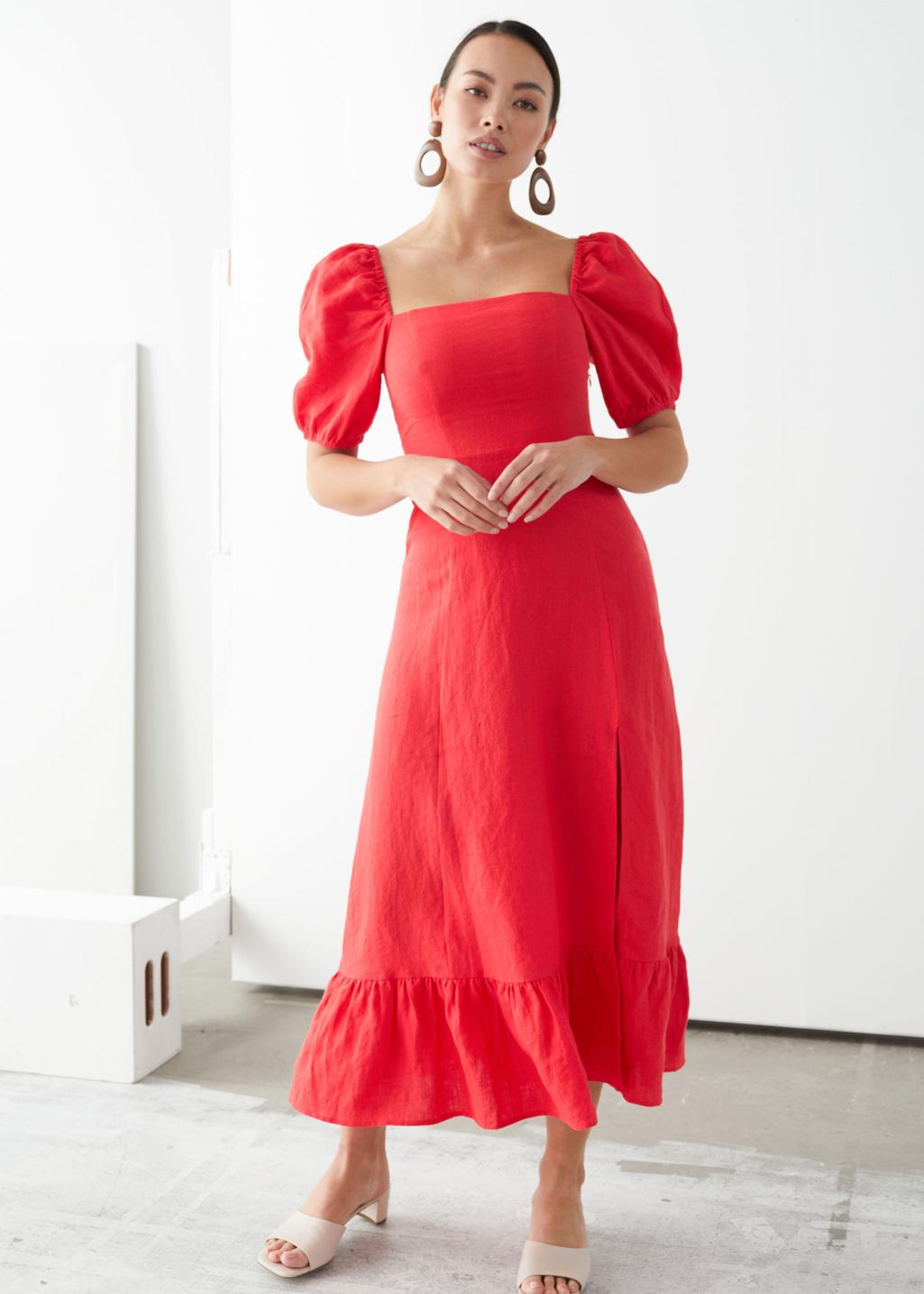 red maxi puff dress
