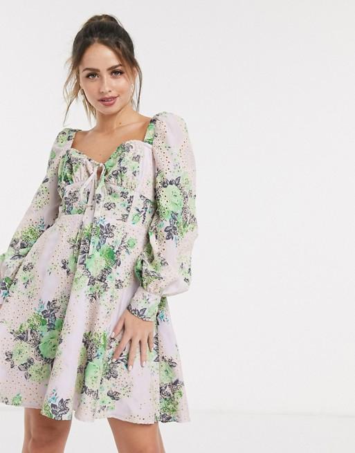 broderie floral dress