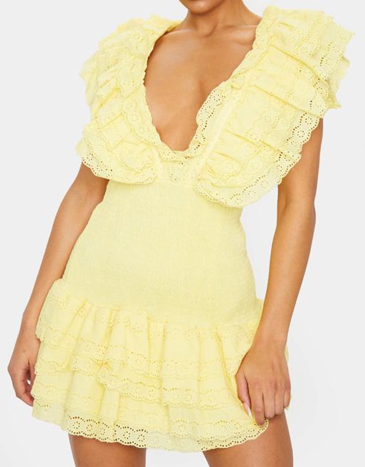 broderie yellow dress