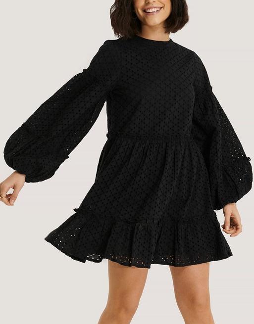 black broderie dress