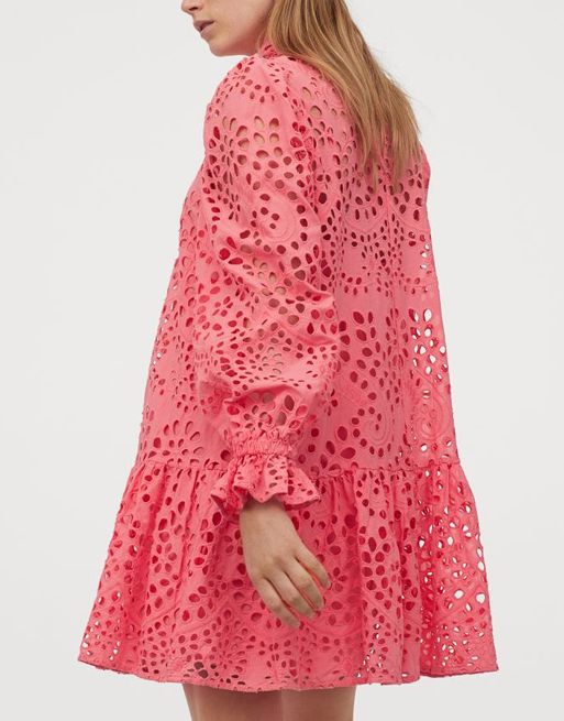 coral broderie dress