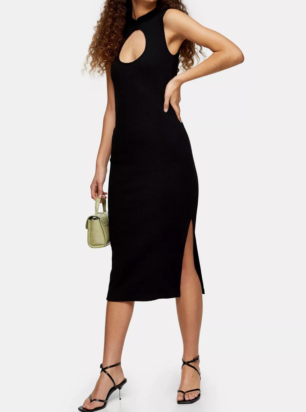 black midi dress topshop