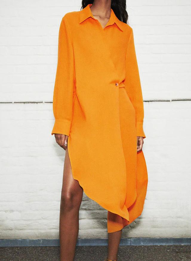 zara midi dress orange