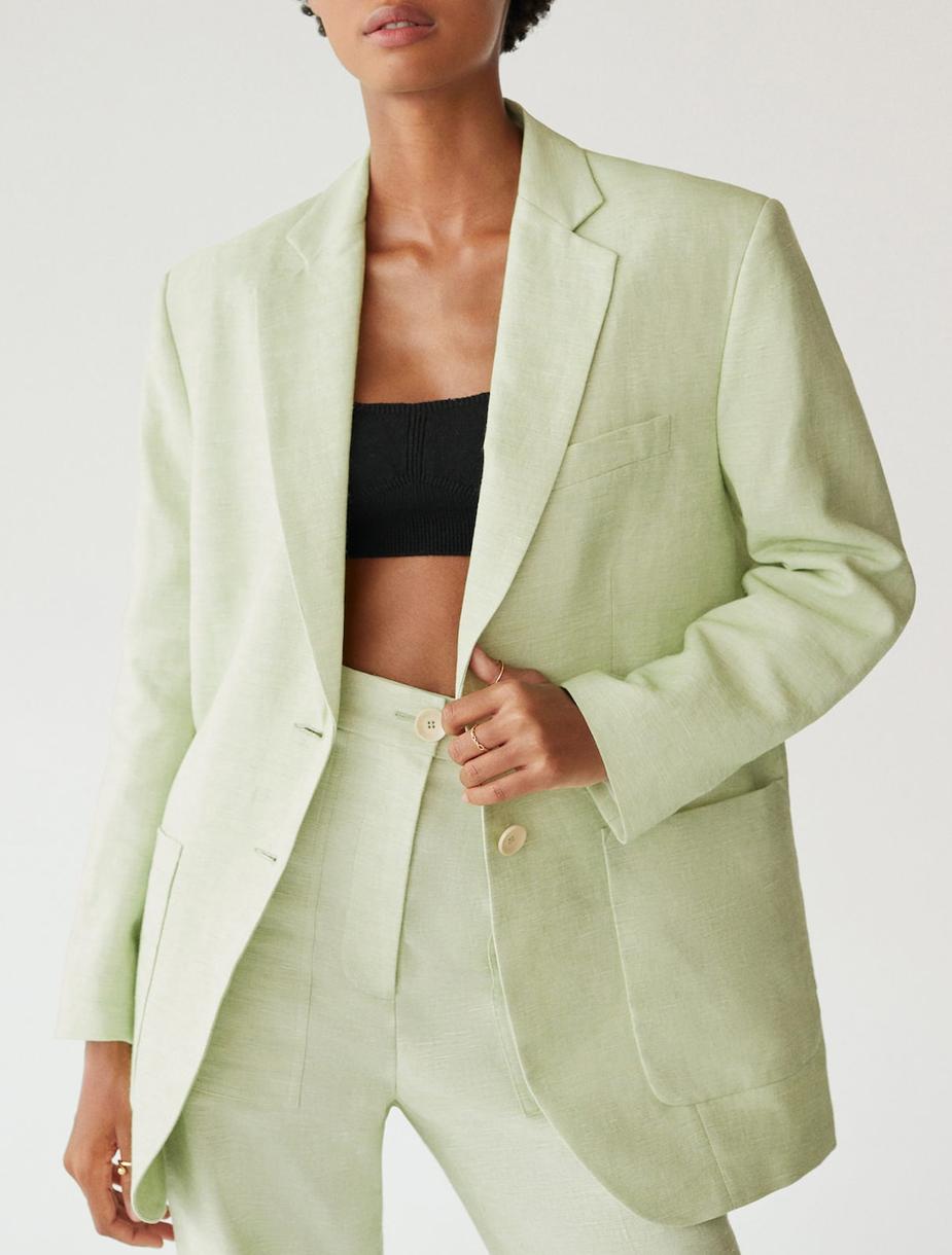 mint linen blazer