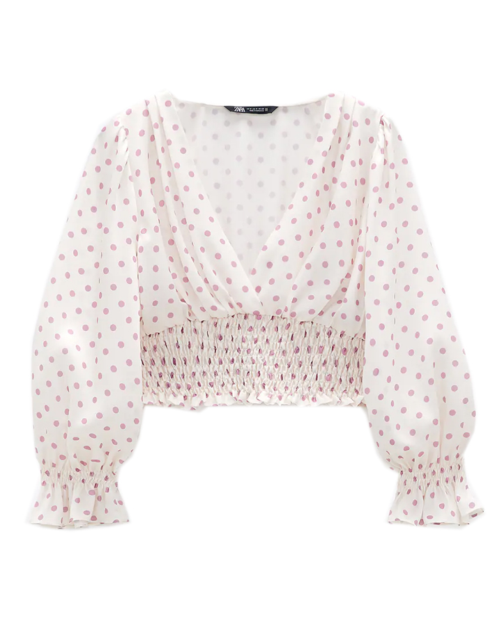zara polka dot crop top