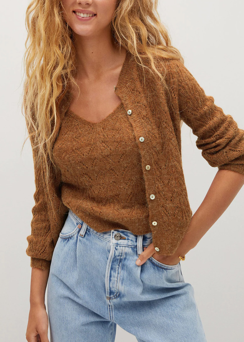 brown knit cardigan