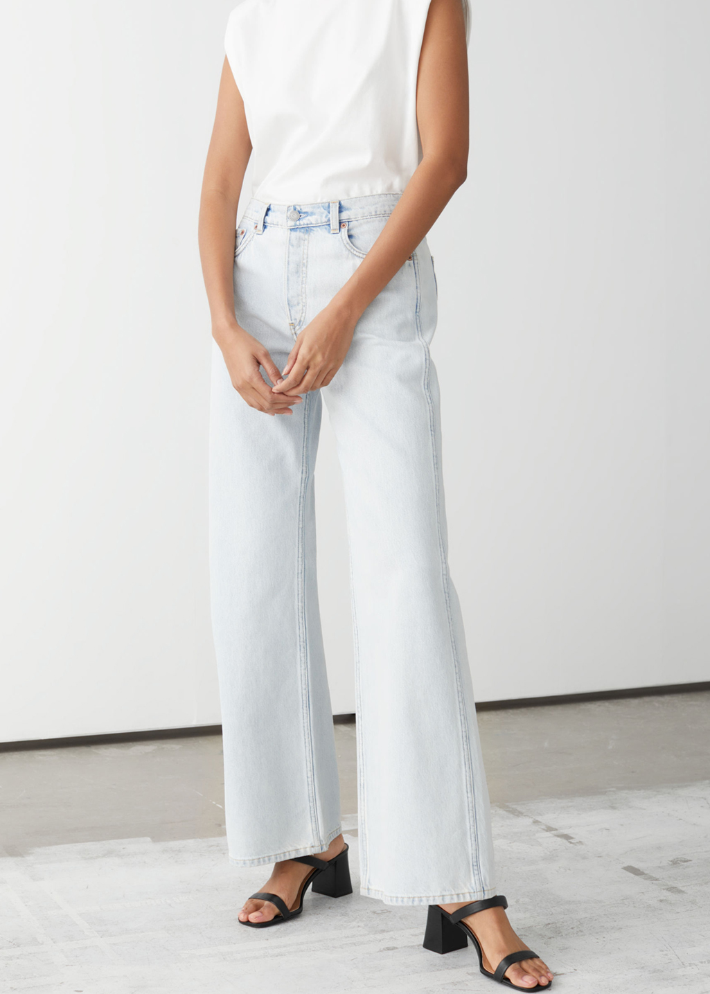 washed wide leg jeans