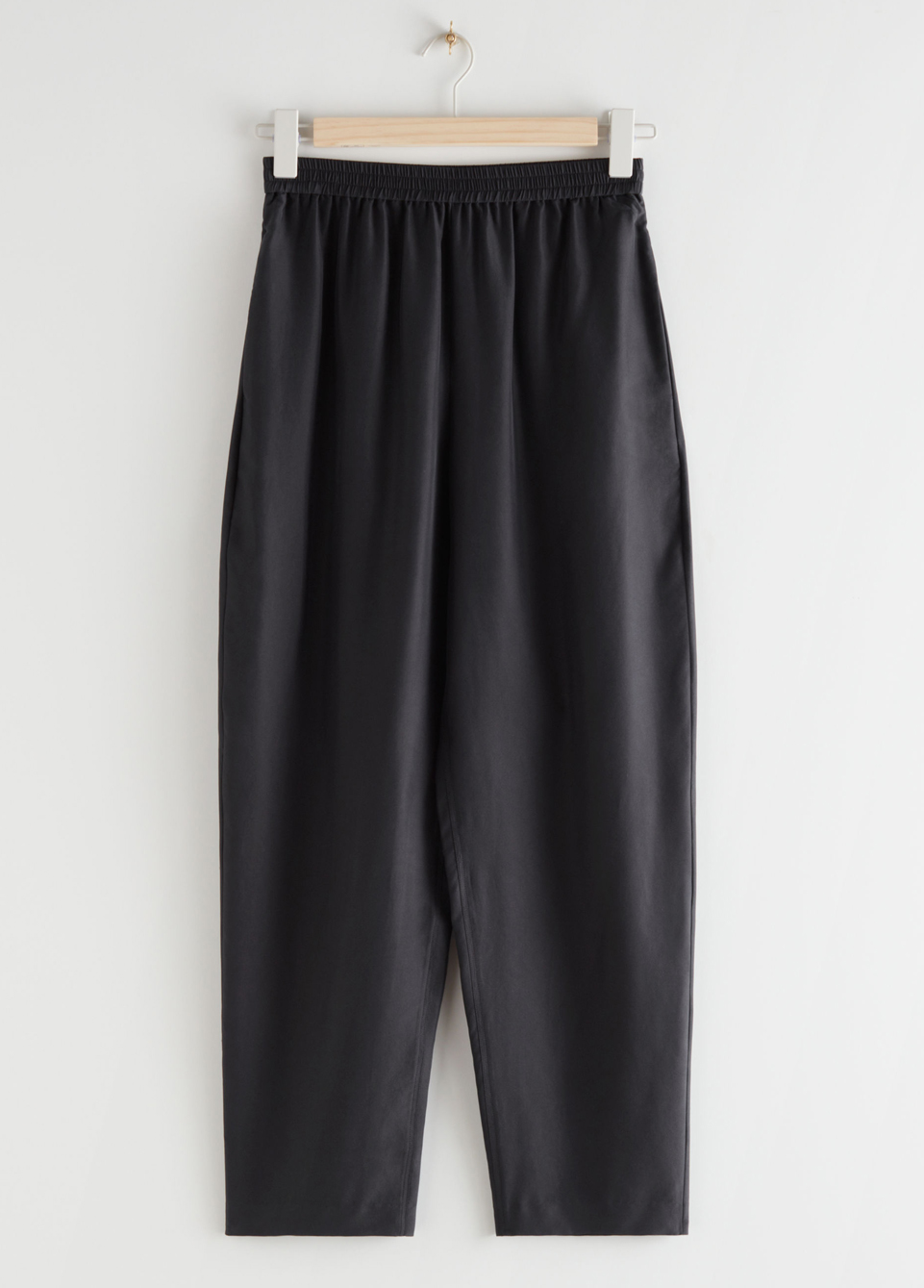 black silk trousers