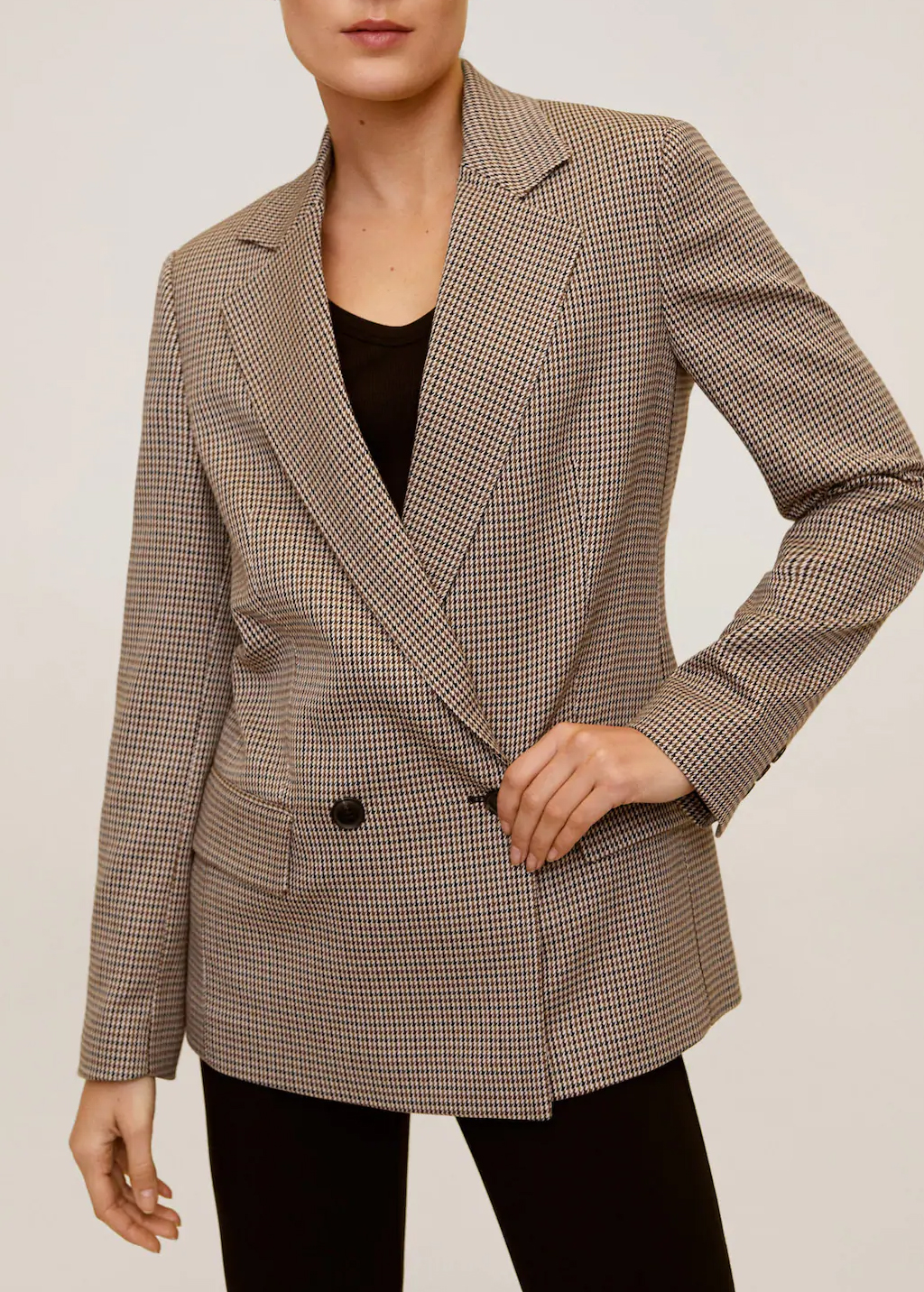 checked blazer mango