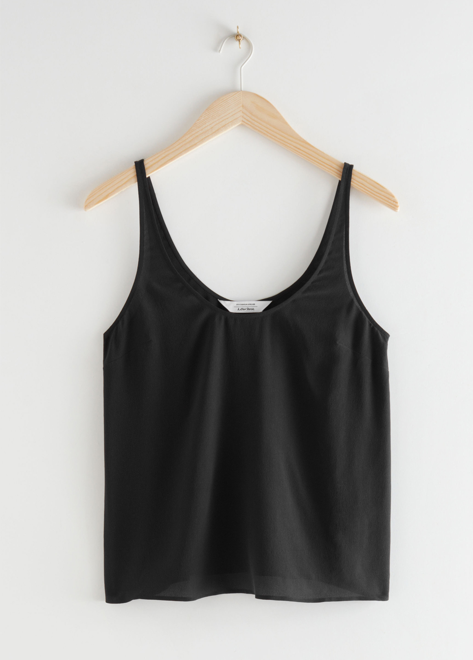 black relaxed silk top