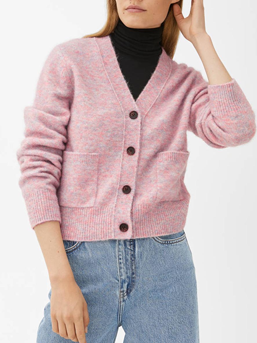 pink merino cardigan