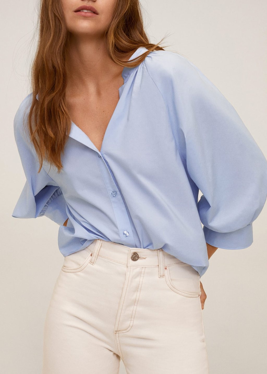 blue poplin blouse