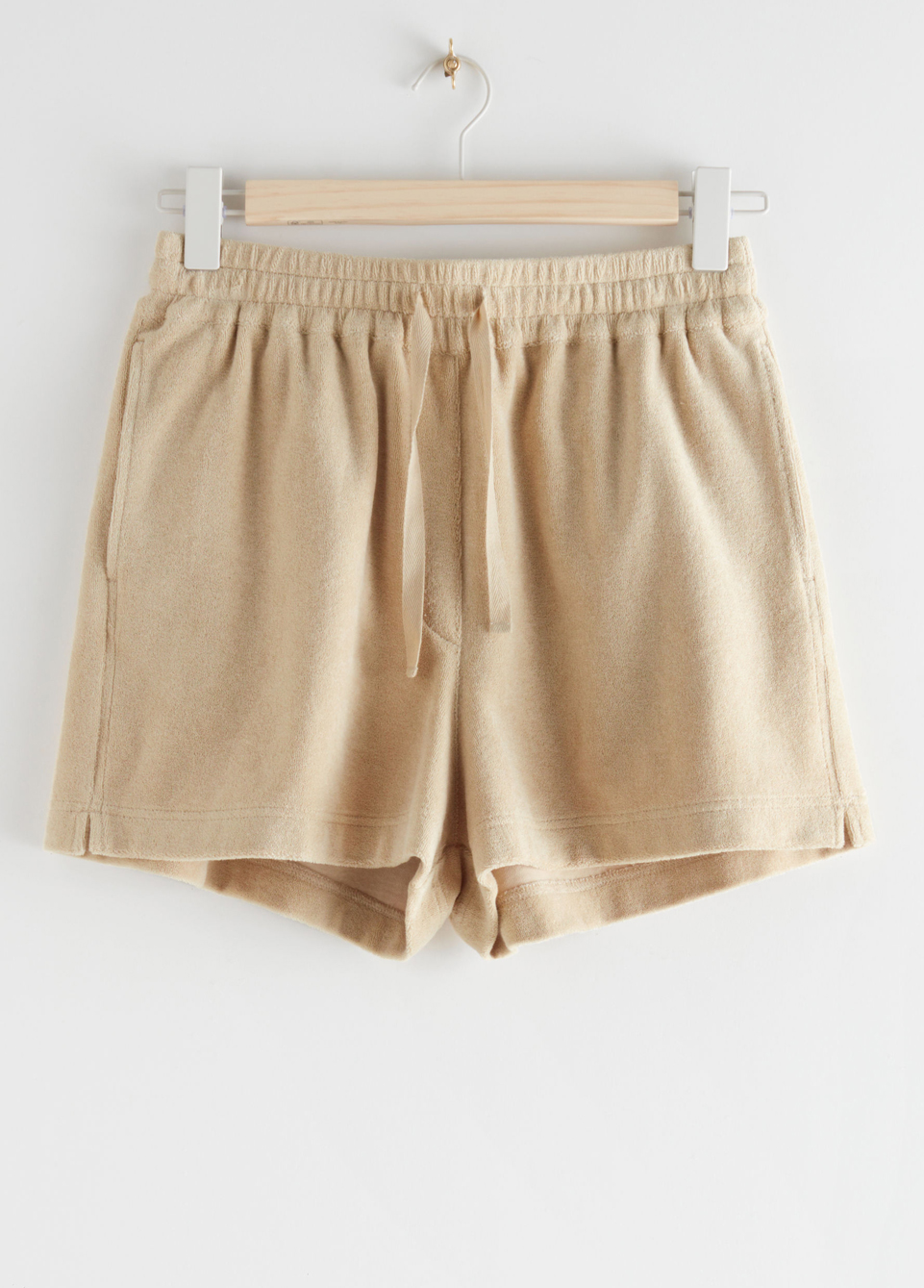 beige velour shorts