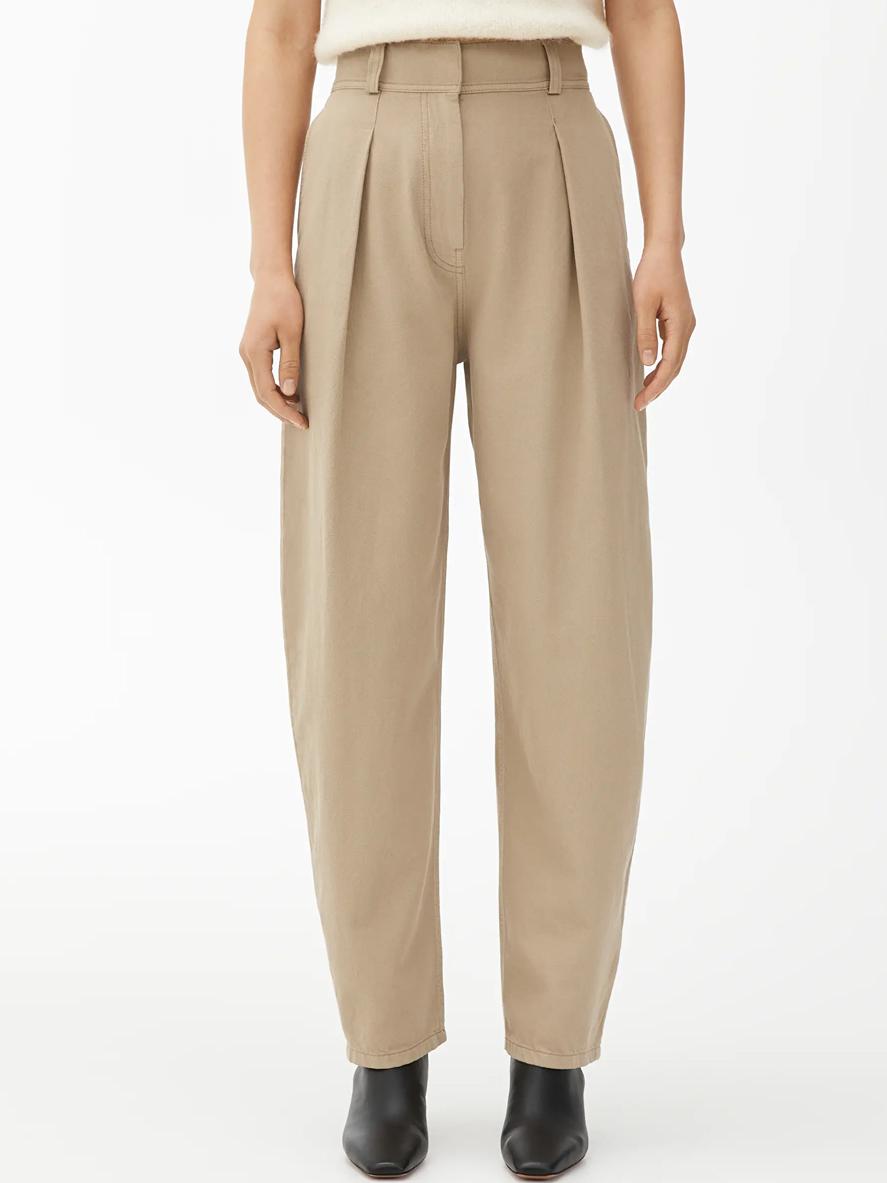 beige twill trousers