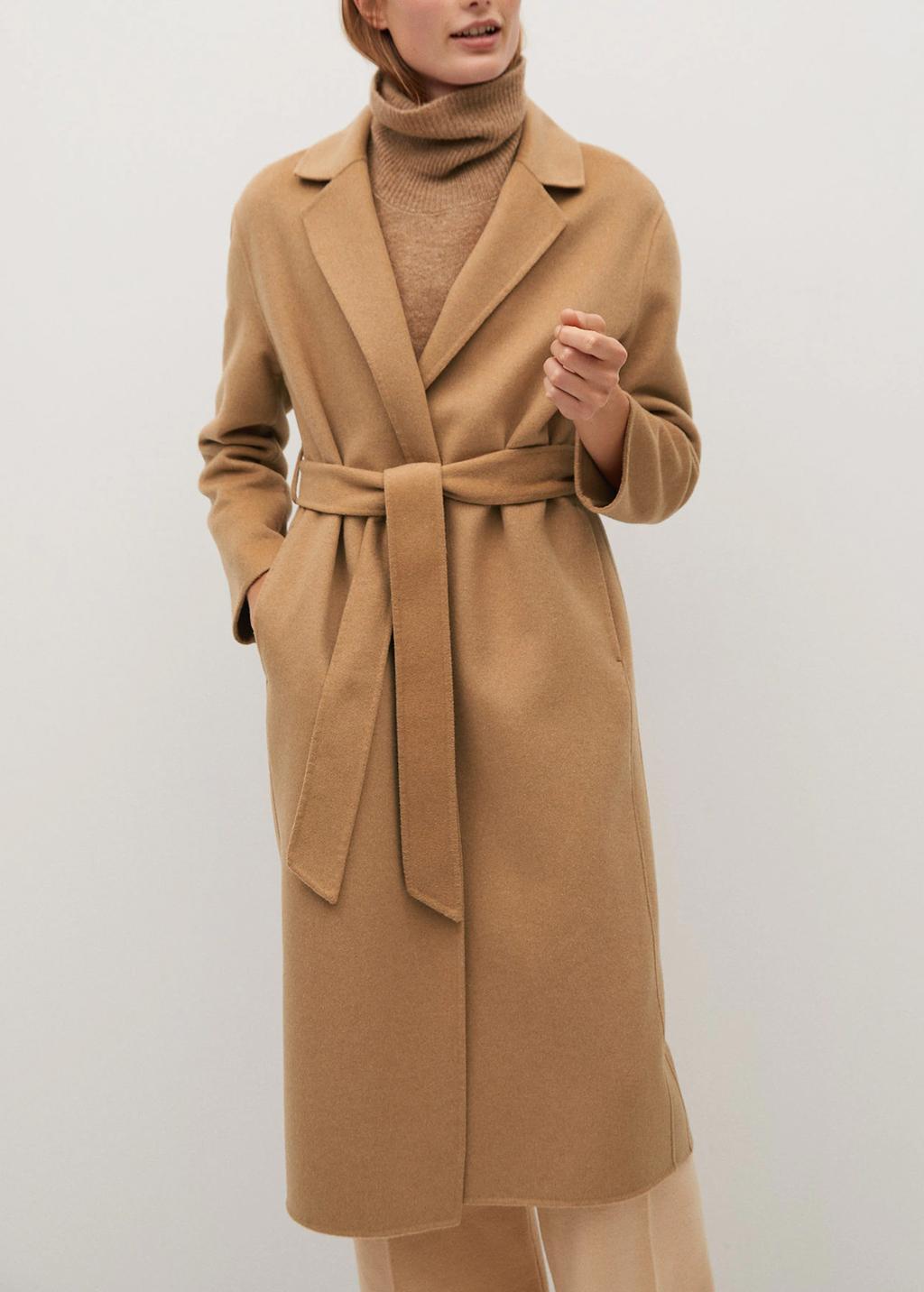 camel belted coat