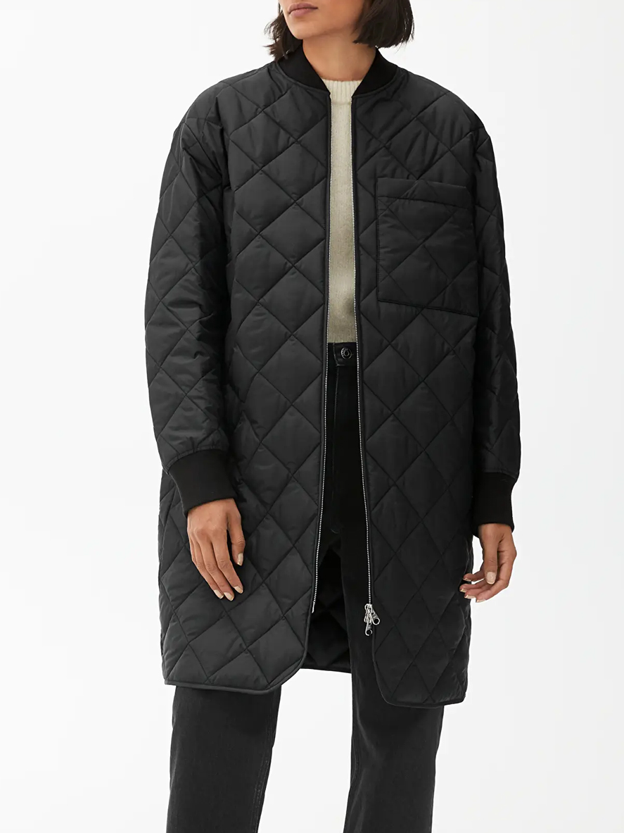 quilted black jacket woman