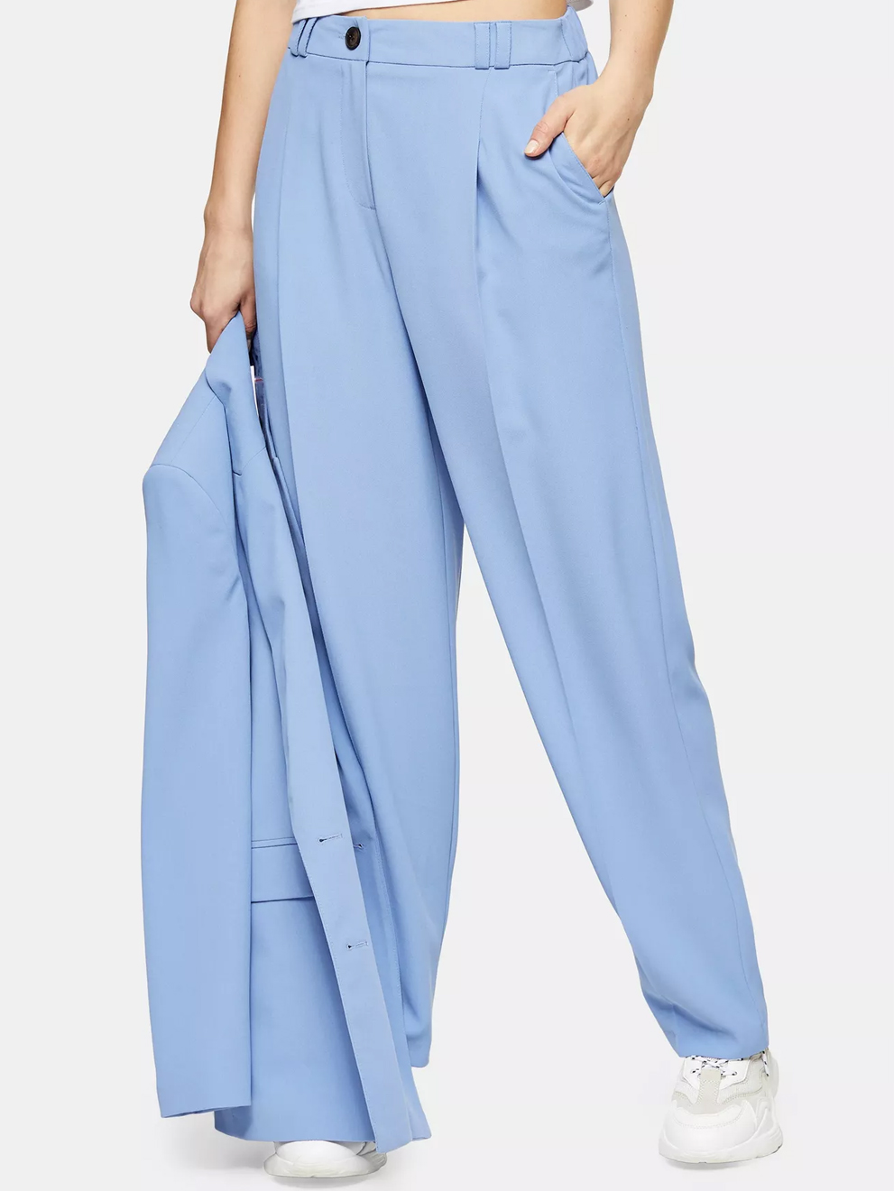 blue wide leg trousers