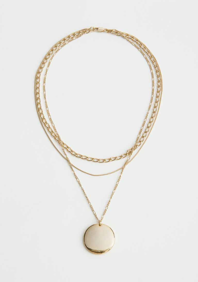 gold pleated layerd necklace