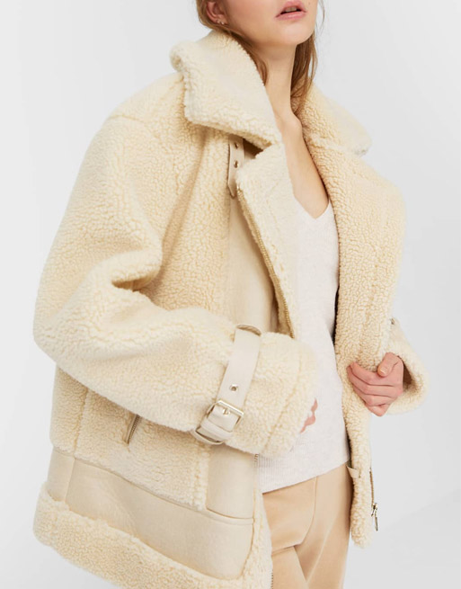 beige shearling aviator jacket