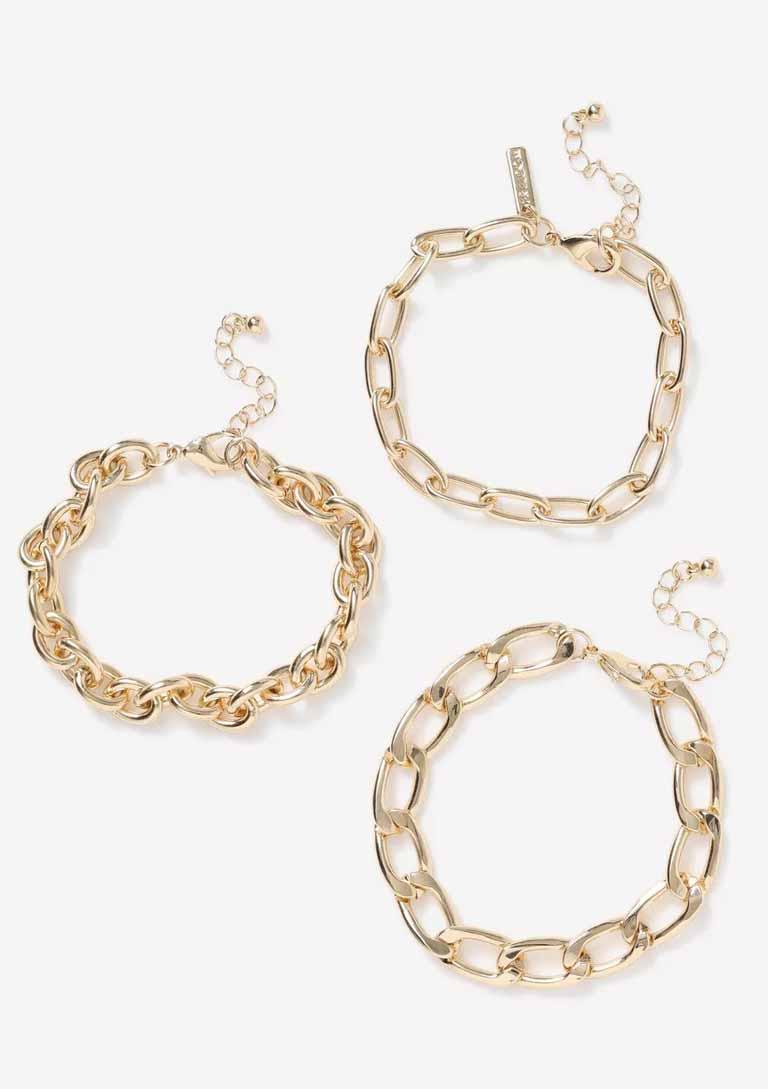 chunky gold pleated bracelet