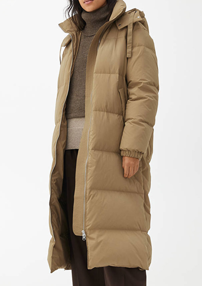 beige puffer coat women