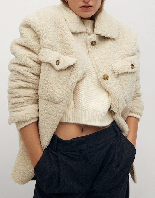 beige shearling shacket