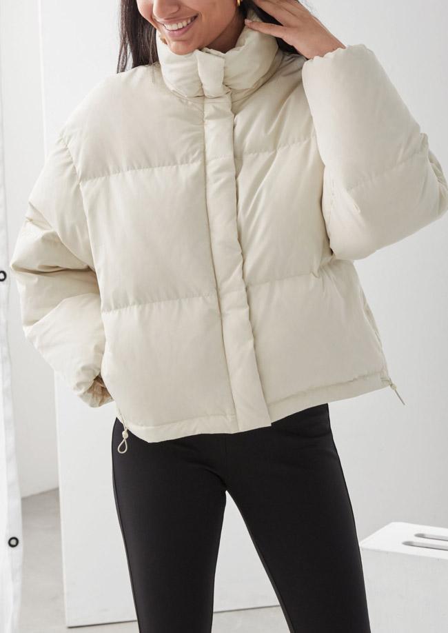 white puffer jacket woman